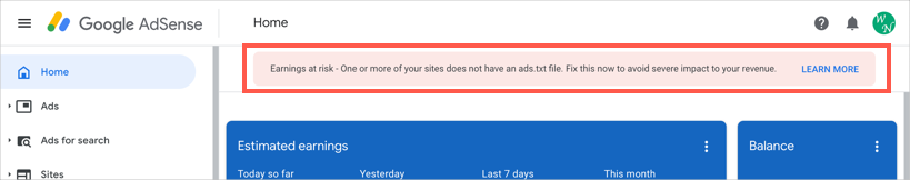 AdSense Warning on Ads Txt File