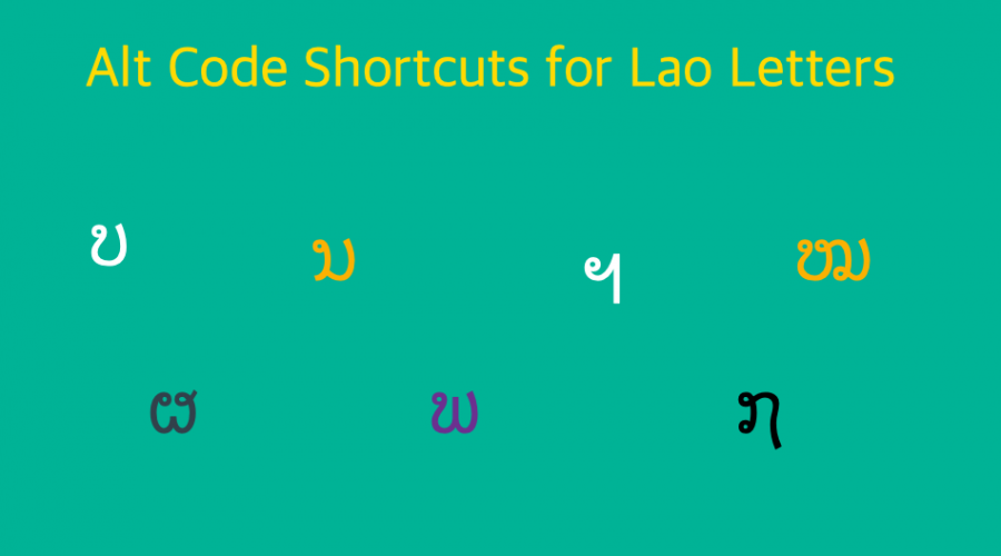 Alt Code Shortcuts for Lao Letters