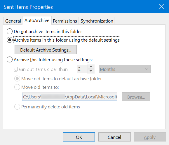 AutoArchive Folder in Outlook