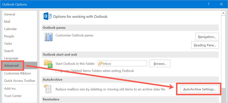 AutoArchive Settings in Outlook