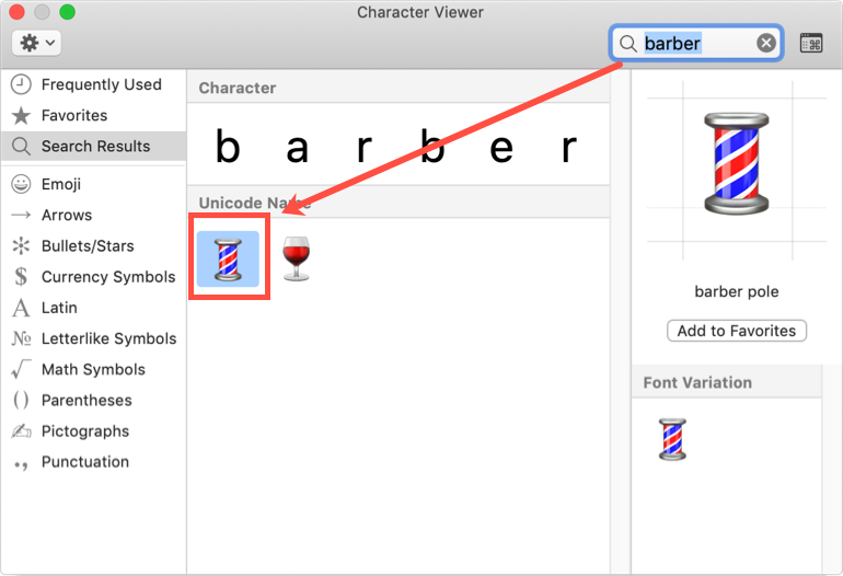 Barber Pole Symbol in Mac Character Viewer
