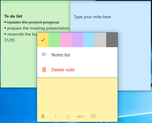 Change Color of Sticky Notes
