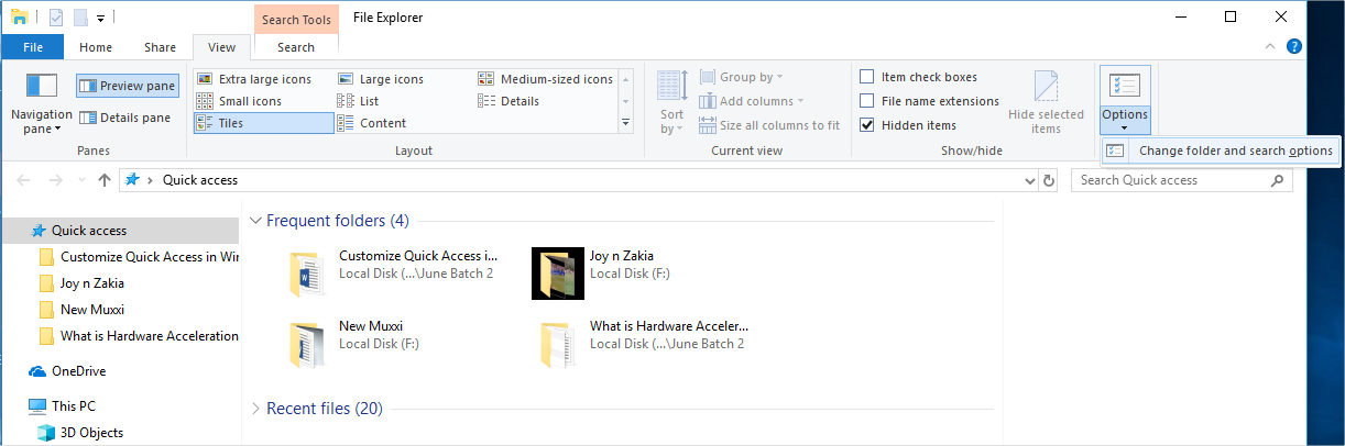 Change Folder Options