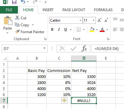 Correct Null Error in Excel