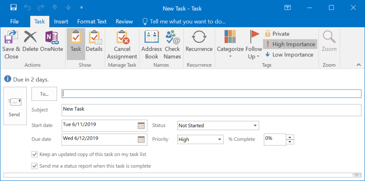 Delegating or Assigning a Task in Outlook