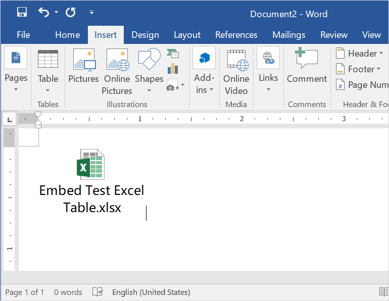 Embed Excel as Icon in Word