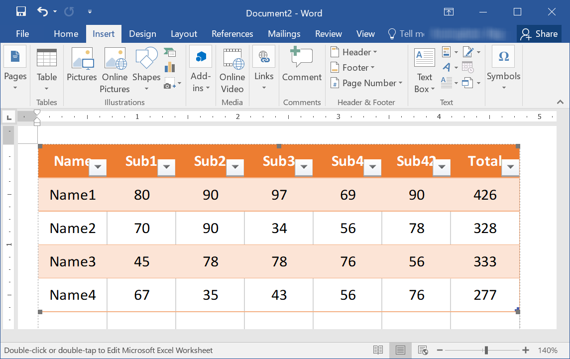 Embed Excel as a Link in Word