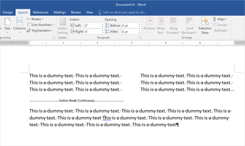Exiting Column Layout in Word