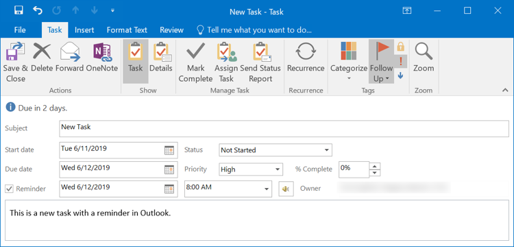 Filling Tasks Details in Outlook