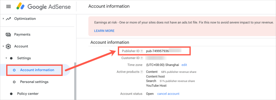 Find Publisher ID in AdSense