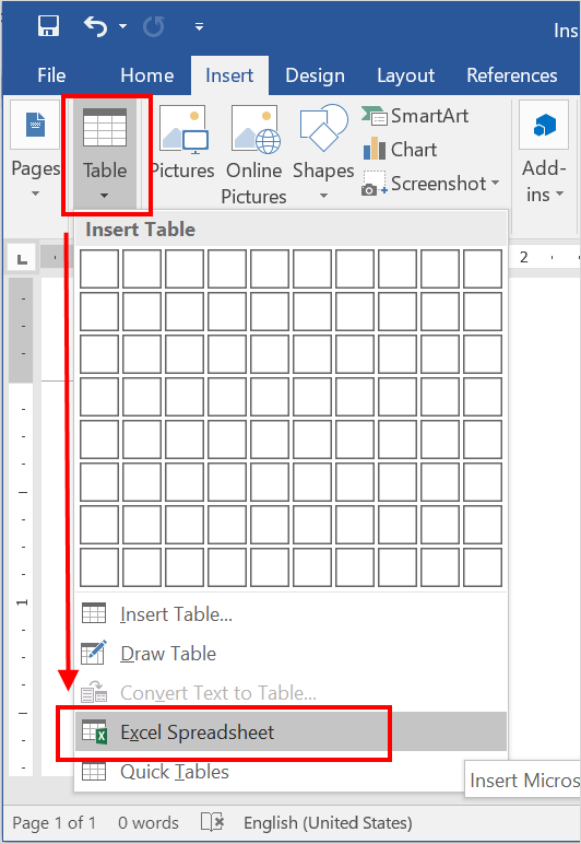Insert Empty Excel Sheet in from Menu