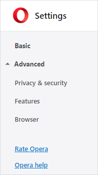 Opera Advanced Settings