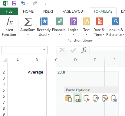 Paste Values in Excel