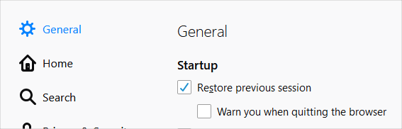 Restore Session in Firefox