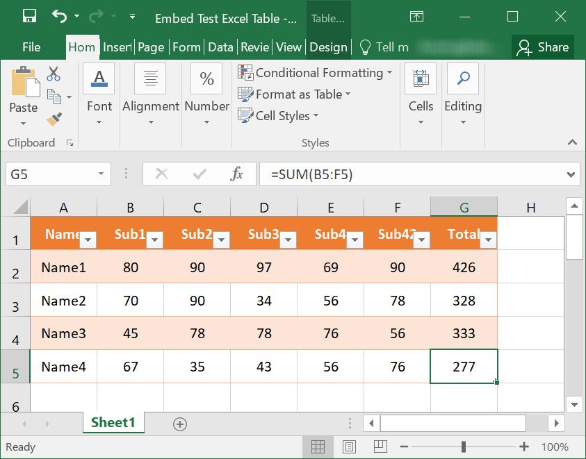 Sample Excel File
