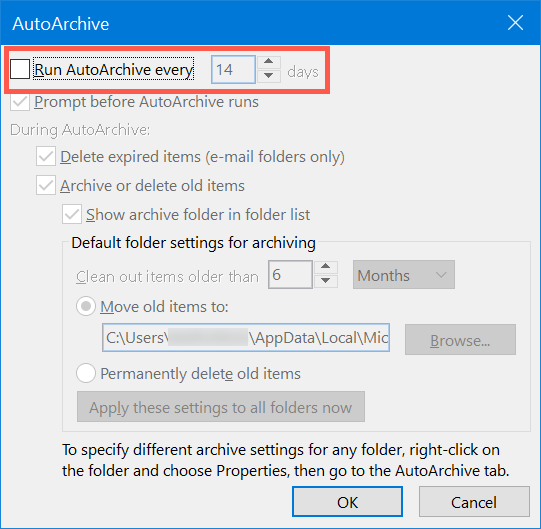 Scheduling AutoArchive in Outlook