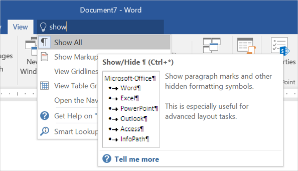 Show Formatting Markups in Word