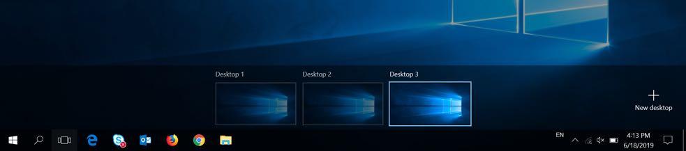 Switching Desktops in Windows 10
