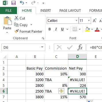 Value Error in Excel
