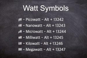 Alt Code Shortcuts for Watt Symbol