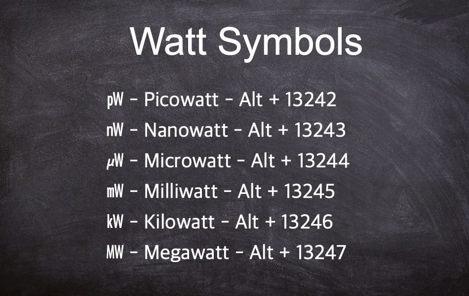 Alt Code Shortcuts for Watt Symbol
