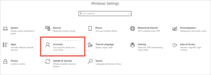 Windows Accounts Settings