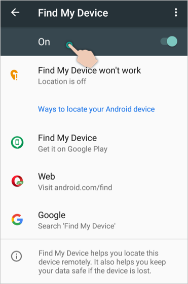 Enable Find My Device