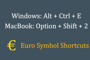 Euro Symbol Shortcuts