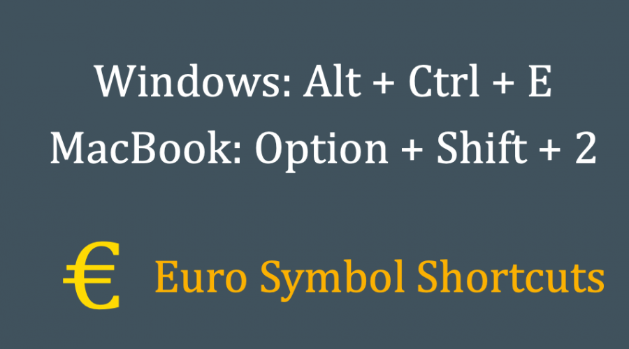 Keyboard Shortcuts for Euro Symbol