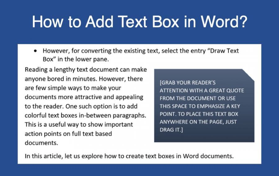 How to Create Text Box in Word Document?