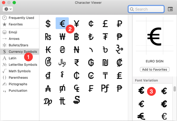 Insert Euro Symbol from Mac Character Viewer