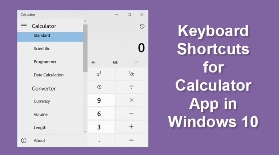 Keyboard Shortcuts for Calculator App in Windows 10