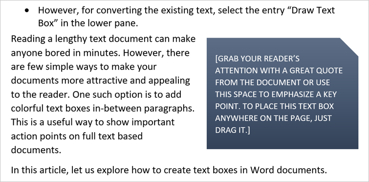 Predefined Text Box in Word