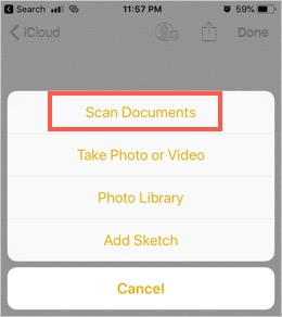 Scan Documents in iPhone Notes App