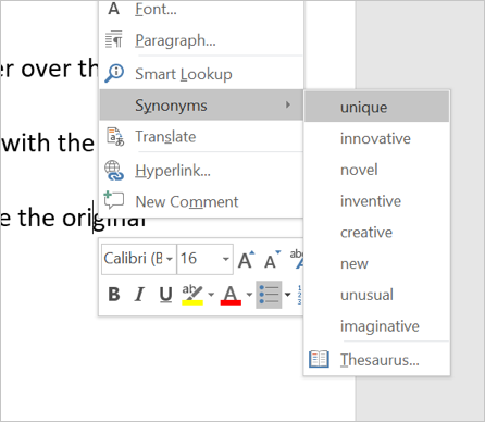 Synonyms in Context Menu
