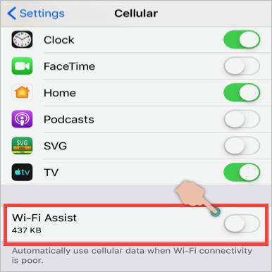 Turn Off Wi-Fi Assist