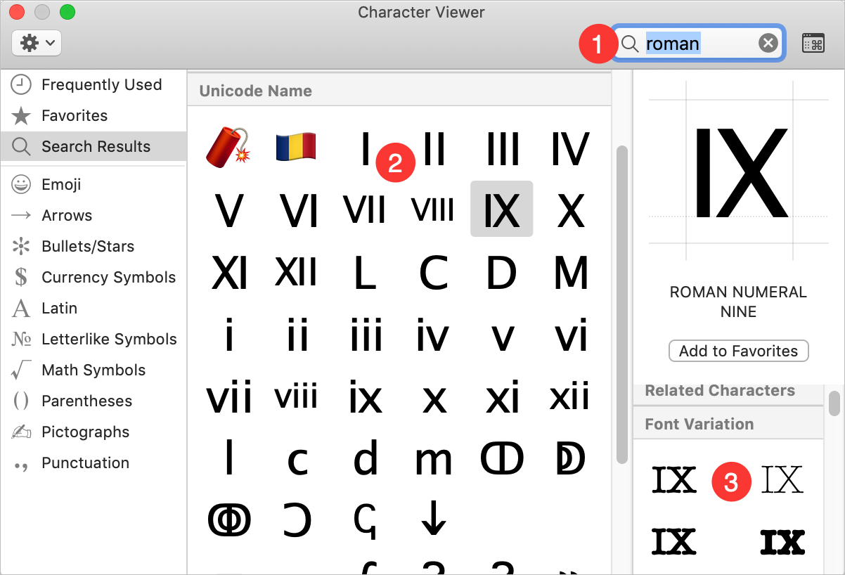 Typing Roman Numerals from Character Viewer in Mac