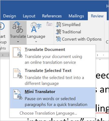 Using Mini Translator