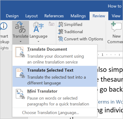 Using Translation in Word