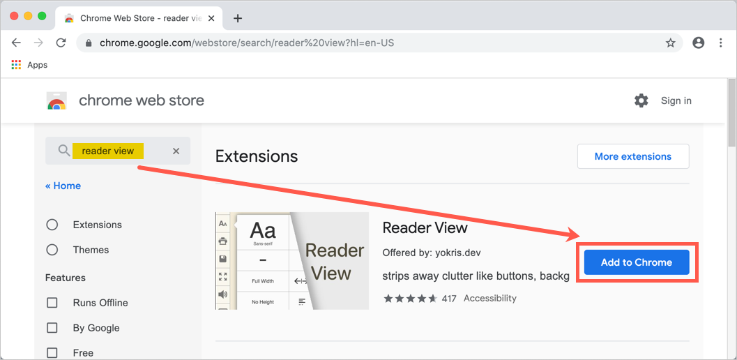 Add Reader View Extension to Chrome