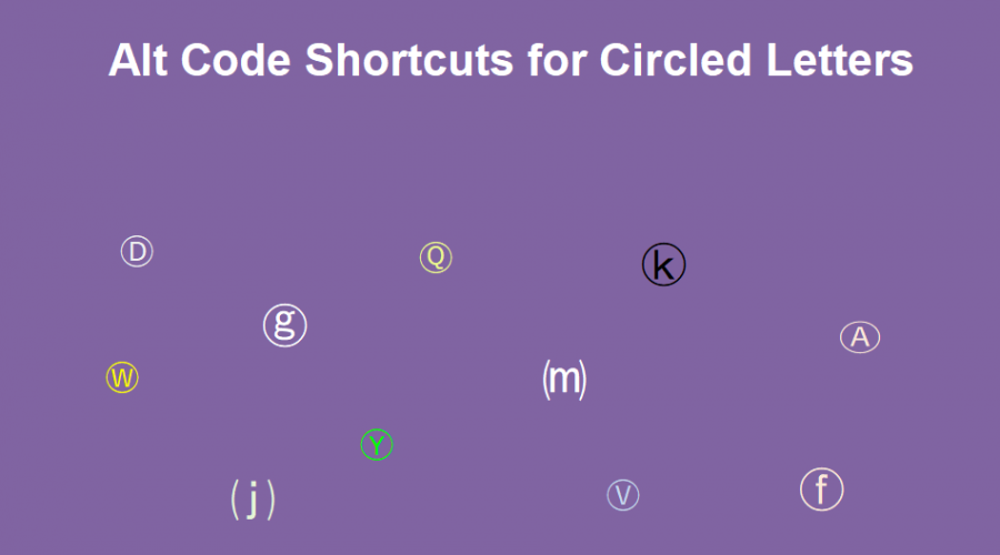 Alt Code Shortcuts for Circled Letters