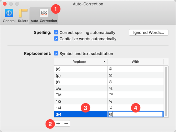 Auto-Correction for Fractions in Mac Pages