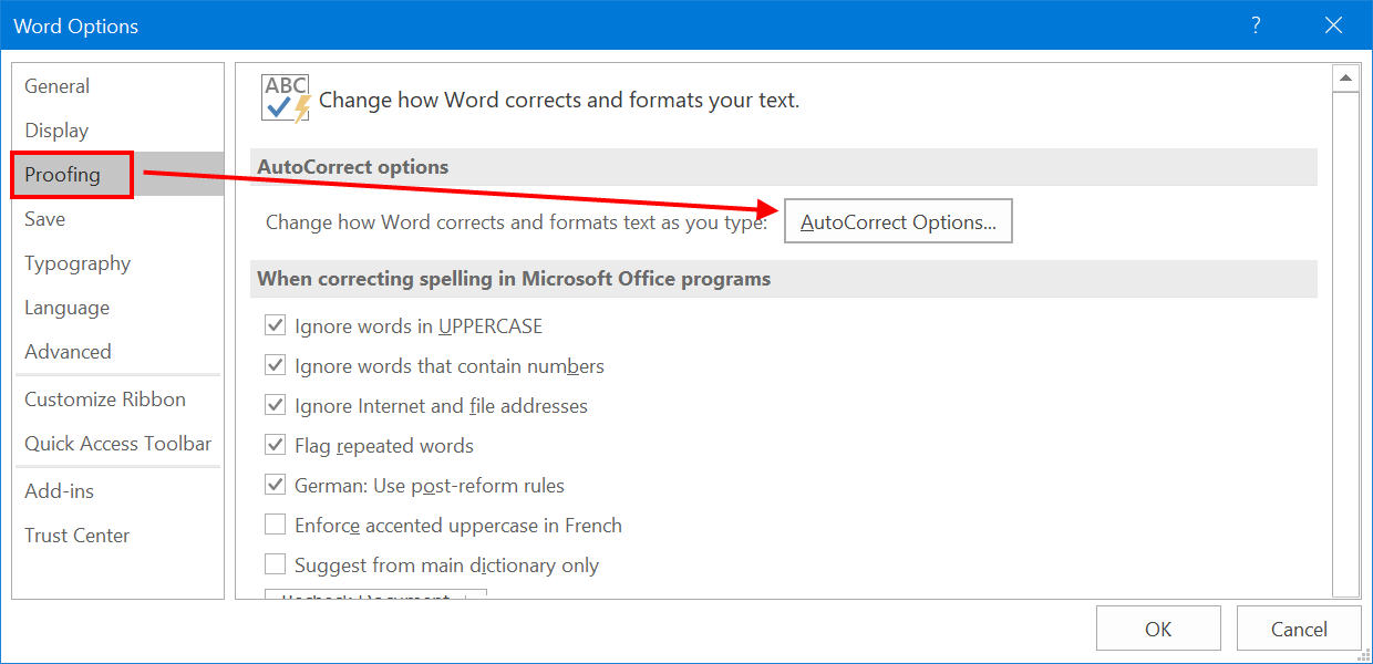 AutoCorrect Options in Word