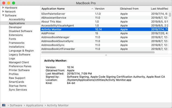 Check Applications in Mac System Report