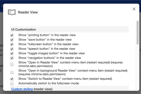 Chrome Reader View Extension Settings
