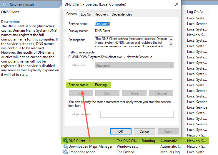 Проверка службы DNS-клиента