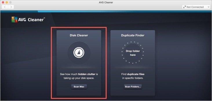 Disk Cleaner Option in AVG Cleaner