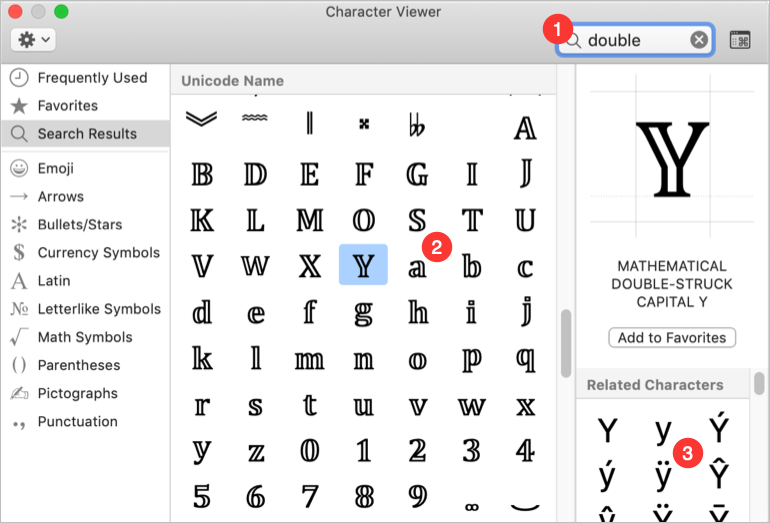 Double Stroke Letters and Numbers in Mac
