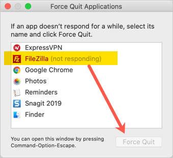 Force Quit App in Mac