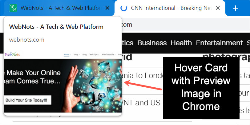 Hover Card with Preview Images in Chrome